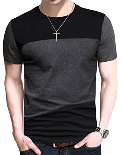 FRTCV Mens Casual T-Shirts Fashion Slim Fit Short Sleeve T Shirt US XL/Asian 5XL Black D6043