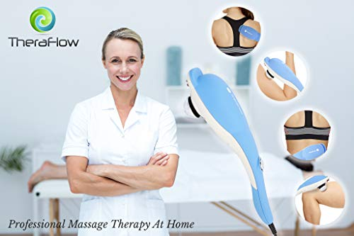 TheraFlow Deep Tissue Percussion Massager. Back Massager, Handheld Muscle Relief for Shoulder, Neck, Scalp, Head, Foot & Body Relaxation 3 Attachments for Shiatsu & Trigger Points Perfect Gift