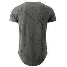 Load image into Gallery viewer, KLIEGOU Mens Hipster Hip Hop Ripped Round Hemline Pattern Print T Shirt 86 Gray2