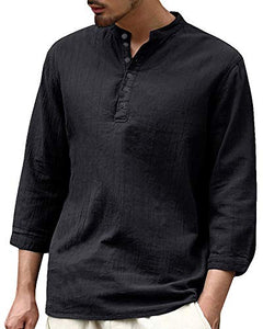 Beotyshow Mens Cotton Linen Henley Shirt 3/4 Sleeve Loose Fit Solid T-Shirts Casual Tops Black