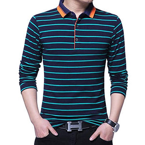 Wishere New Men's Fashion T-Shirt Cotton Long-Sleeved Polo Shirt