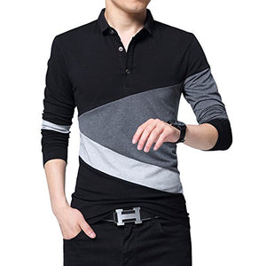 Wishere New Men's Fashion T-Shirt Cotton Long-Sleeved Polo Shirt Grey