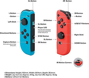 Nintendo Switch - Mario Kart 8 Deluxe Blue & Red Joy-Con Consoles W/ 69 Value 13 in 1 Supper Carrying Case (Earphone, LCD film, Card Case, Silicon Case