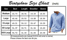 Load image into Gallery viewer, Beotyshow Mens Cotton Linen Henley Shirt 3/4 Sleeve Loose Fit Solid T-Shirts Casual Tops Black