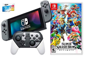 Nintendo Switch Ultimate Limited Bundle: SSB Ultimate Game with Limited Edition Pro Controller, Nintendo Switch 32GB Gaming Console with Gray Joy-Con and Extra 128GB SD Card