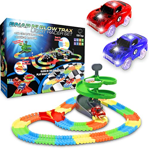 "Glow Race Tracks for Boys€"" 360pk Light Up Snap N€™ Glow in The Dark Magic Rainbow Race Tracks for Kids w/ Light Up Cars"