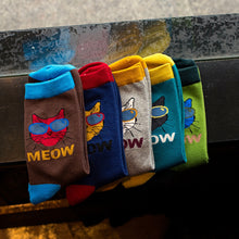 Load image into Gallery viewer, 1 Pair Men Cool Cartoon Sunglasses Cat Casual Short Crew Socks