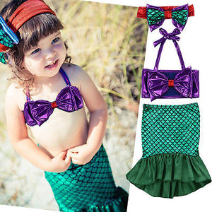 Children Vacation Clothes Kids Baby Girl Tops+Skirts Mermaid Tail Dress Outfits Set Swimwear Swimsuit 1-7Y