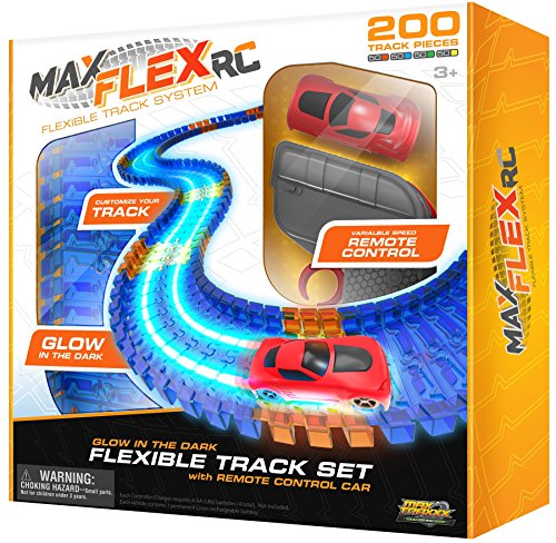Max Traxxx Max Flex 200 R/C Glow in the Dark Flexible Race Track System with Light Trace Technology 1:64 Scale Remote Control Car: Toys & Games
