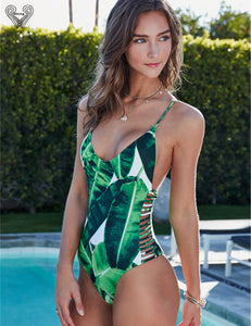 Leaf Print One Piece Swimsuit Padded One-Piece Monokini Sexy Bathing Suit