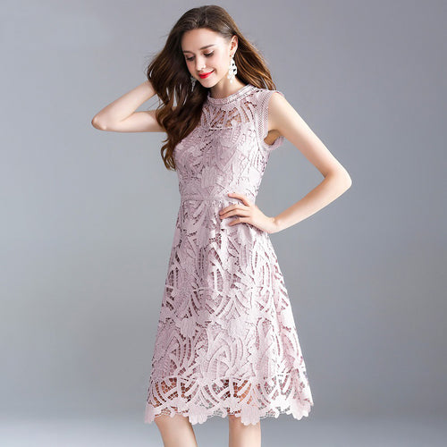 Top Grade Women Fashion Lace Dress 2018 Summer Cocktail Party Women Crochet Lace Embroidery Sleeveless A-Line Pink Green Dress