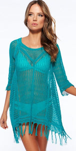 Women Sexy Bikini Beach Cover-up Mesh Beach Dress Tunic Robe