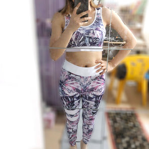 2 Pcs Women Sexy Yoga Set Bra+Leggings Ladies Quick Dry Tracksuit Running Sportswear Fitness Suit Workout Leggings Gym Clothing