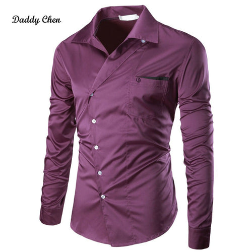 Casual Shirts men oblique Breasted slim fit Solid men's dress shirt long sleeves pocket
