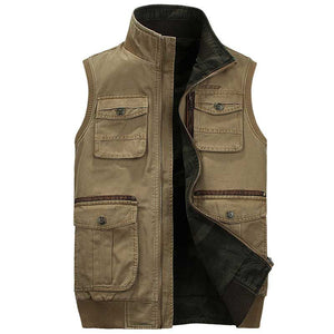 Men's Classic Camouflage Outdoors Vest Multi Pockets Zippers Sleeveless