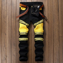Load image into Gallery viewer, 2018 New Patchwork Men's Biker Jeans Pleated Denim Male Motocycle Jeans