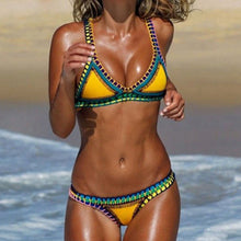 Load image into Gallery viewer, 2018 New Swimsuit European Brazilian Crochet Bikini Suit Multi-Color Triangle Swimsuit Knitted Beach Swimsuit Free Shipping