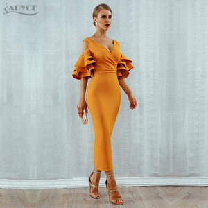Women Dress Summer Vestidos Verano Celebrity Party Dresses Yellow Red Ruffles Butterfly Short Sleeve Midi Dress