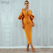 Load image into Gallery viewer, Women Dress Summer Vestidos Verano Celebrity Party Dresses Yellow Red Ruffles Butterfly Short Sleeve Midi Dress