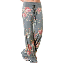 Load image into Gallery viewer, Summer Women Pants Floral Drawstring Leisure Trousers Full Length Pocket Casual Loose Wide Leg Long Pant Summer Soft Casual