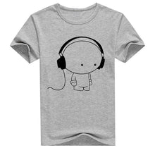 Load image into Gallery viewer, Men Short Sleeve T-Shirt Headphone Man Cartoon Pattern Print T-Shirt Fashion Casual Round Neck Slim Fit Top Male