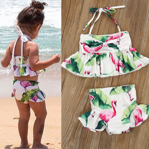 Toddler Kid Baby Girl Flamingo Tankini Bikini Set 2018