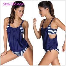 Load image into Gallery viewer, StarHonor Woman Striped Beach Swimsuit Bandage Double Layer Two-piece Bikini Set