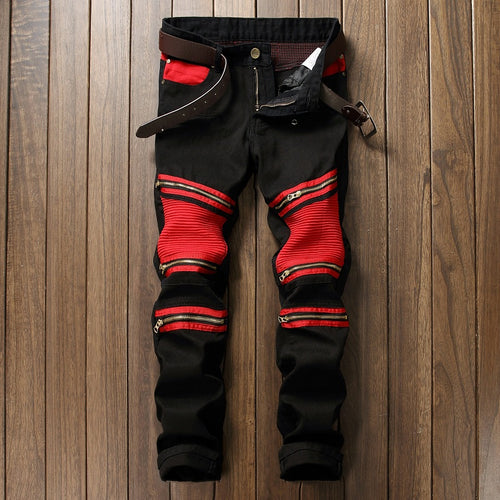 2018 New Patchwork Men's Biker Jeans Pleated Denim Male Motocycle Jeans
