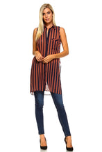 Load image into Gallery viewer, Women's Long Sheer Sleeveless Stripe Blouse