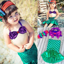 Load image into Gallery viewer, Children Vacation Clothes Kids Baby Girl Tops+Skirts Mermaid Tail Dress Outfits Set Swimwear Swimsuit 1-7Y