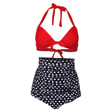 Load image into Gallery viewer, Sexy Retro Push up High Waist Swimsuit Women Padded Beach Vintage Halter Bikini