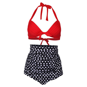 Sexy Retro Push up High Waist Swimsuit Women Padded Beach Vintage Halter Bikini