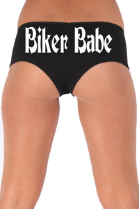 Women's Juniors White Biker Babe Booty Shorts