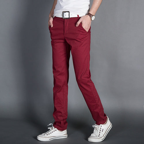 2018 New cotton wash men's Slim small straight casual fashion pants