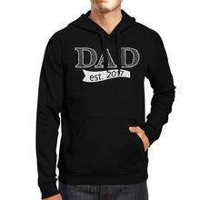 Load image into Gallery viewer, Dad Est 2017 Unisex Black Unique Graphic Hoodie