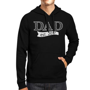 Dad Est 2017 Unisex Black Unique Graphic Hoodie