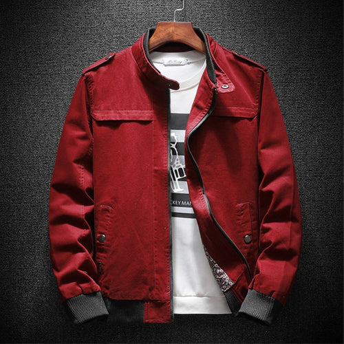 Autumn Bomber Jacket Men Summer Basic Casual Cotton Fashion Military Men Jacket Classic Outwear Red Khaki Plus Size 4xl 2018