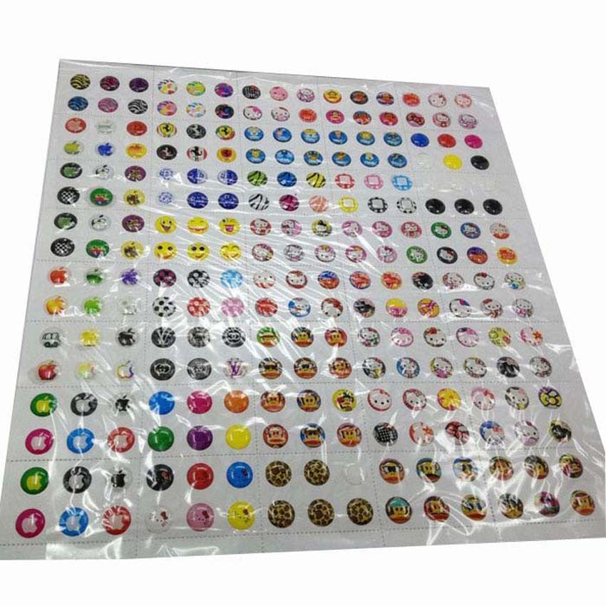 330pcs Cartoon Rubber Home Button Sticker for iPhone 4 4s 5G ipad 2 3
