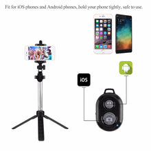 Load image into Gallery viewer, Portable Bluetooth Wireless Selfie Stick Foldable 3 in 1 with Tripod Remote Control for iPhone Android phone