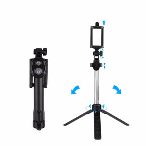Portable Bluetooth Wireless Selfie Stick Foldable 3 in 1 with Tripod Remote Control for iPhone Android phone