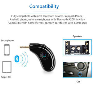 2017 Wireless Bluetooth Receiver 3.5mm Plug Adapter Built-in Rechargeable Battery for Iphone Andorid Speaker Car Stereo