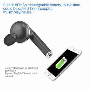 1pc Wireless Bluetooth 4.1 Headset with built-in microphone Hands-free Call Voice Broadcast Function for iPhone Samsung Tablets