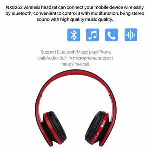 Fornorm Bluetooth NX8252 Stereo Earphone Foldable Headphone With Mic USB Rechargeable 3.5mm Audio Music Player For Iphone Phone