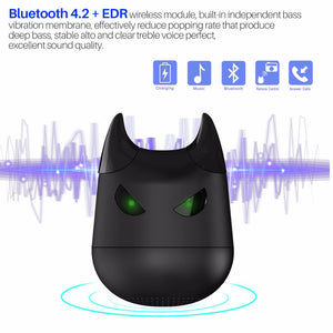 Fornorm Mini Devil Wireless Bluetooth Speaker With Microphone Support Remote Phone Camera For Iphone Android Smartphone