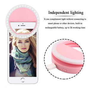 FORNORM USB Charge Selfie Portable Flash Led Camera Phone Photography Ring Light Enhancing Photography for iPhone Smartphone