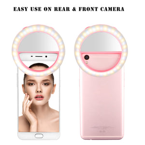 FORNORM Selfie Ring Light Dual-color Led Lamp Adjustable Brightness Photography Enhance Lightness Flash For iPhone