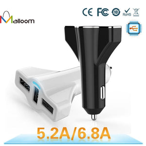 3 Port Rapid Cigarette USB Car Charger With 5V 5.2A for iPhone iPad iPod Samsung Smartphones Tablets And More
