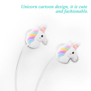 FORNORM Unicorns Cartoon Earphones Colorful Rainbow Horse In-ear Headsets Earphones For Samsung iPhone Tablet