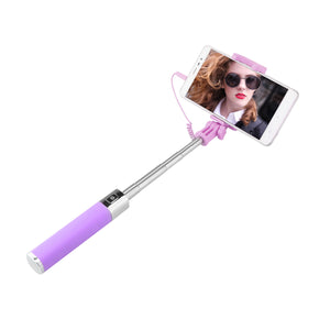 Handheld Adjustable Flexible Telescoping Selfie Stick Wired Control with Mirror for Smartphone iPhone Samsung