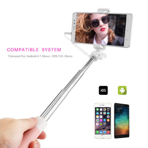 FORNORM Selfie Sticks Monopod Mirror Gifts Handheld Extendable Self Portrait Tripod Stick For Selfie For iPhone Android Phone